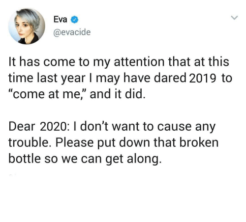 """Along: Eva  @evacide  It has come to my attention that at this  time last year I may have dared 2019 to  """"come at me,"""" and it did.  Dear 2020:I don't want to cause any  trouble. Please put down that broken  bottle so we can get along. meirl"""