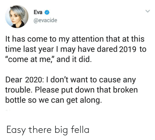 """Along: Eva  @evacide  It has come to my attention that at this  time last year I may have dared 2019 to  """"come at me,"""" and it did.  Dear 2020:I don't want to cause any  trouble. Please put down that broken  bottle so we can get along. Easy there big fella"""