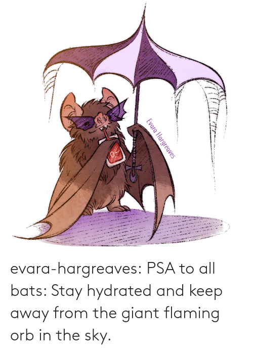 Giant: evara-hargreaves:  PSA to all bats: Stay hydrated and keep away from the giant flaming orb in the sky.