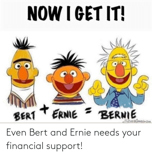 Needs: Even Bert and Ernie needs your financial support!