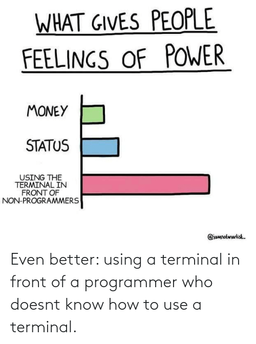 How To, How, and Who: Even better: using a terminal in front of a programmer who doesnt know how to use a terminal.