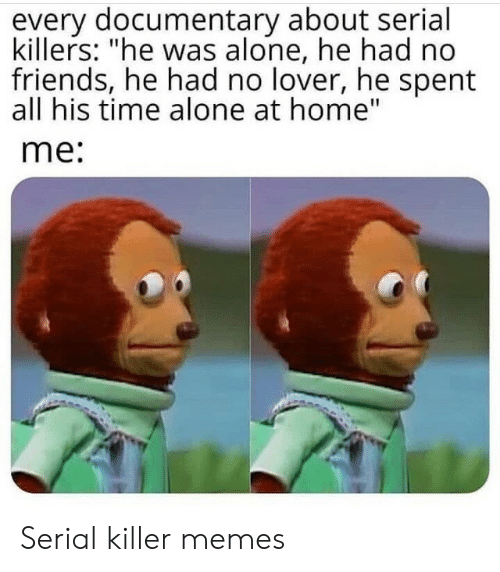 """killers: every documentary about serial  killers: """"he was alone, he had no  friends, he had no lover, he spent  all his time alone at home""""  me: Serial killer memes"""