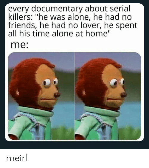"""killers: every documentary about serial  killers: """"he was alone, he had no  friends, he had no lover, he spent  all his time alone at home""""  me: meirl"""
