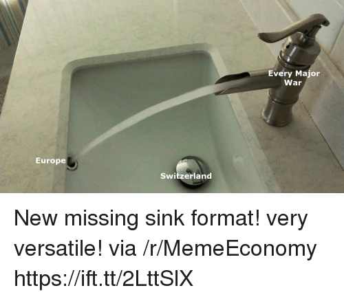 Europe, Switzerland, and War: Every Major  War  Europe  Switzerland New missing sink format! very versatile! via /r/MemeEconomy https://ift.tt/2LttSlX