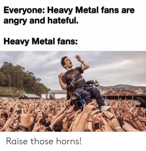 Angry, Metal, and Heavy Metal: Everyone: Heavy Metal fans are  angry and hateful  Heavy Metal fans: Raise those horns!