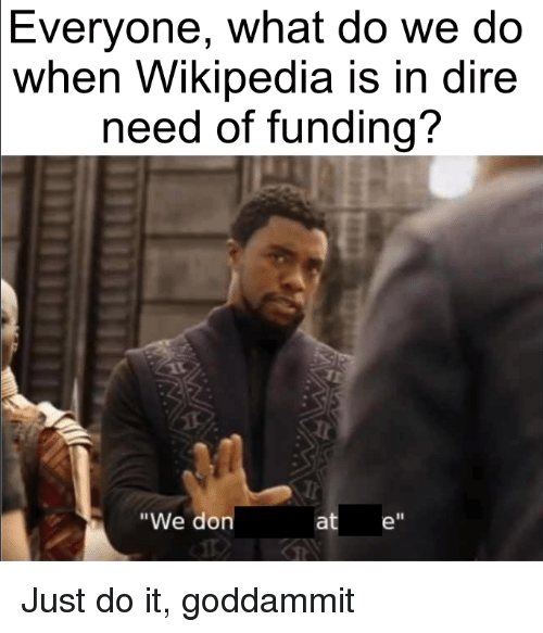 "Just Do It, Wikipedia, and Don: Everyone, what do we do  when Wikipedia is in dire  need of funding?  ""We don  at e"""