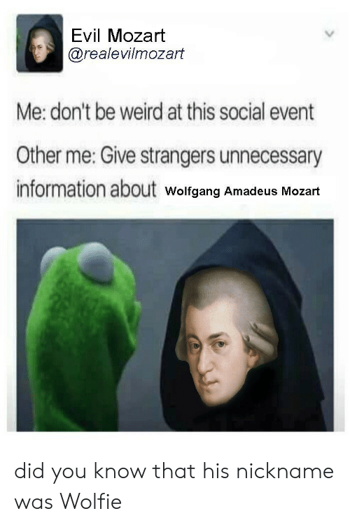 nickname: Evil Mozart  @realevilmozart  Me: don't be weird at this social event  Other me: Give strangers unnecessary  information about  Wolfgang Amadeus Mozart did you know that his nickname was Wolfie