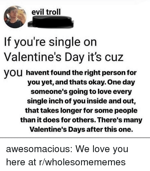 Love, Troll, and Tumblr: evil troll  If you're single on  Valentine's Day it's cuz  VOU havent found the right person for  you yet, and thats okay. One day  someone's going to love every  single inch of you inside and out,  that takes longer for some people  than it does for others. There's many  Valentine's Days after this one. awesomacious:  We love you here at r/wholesomememes