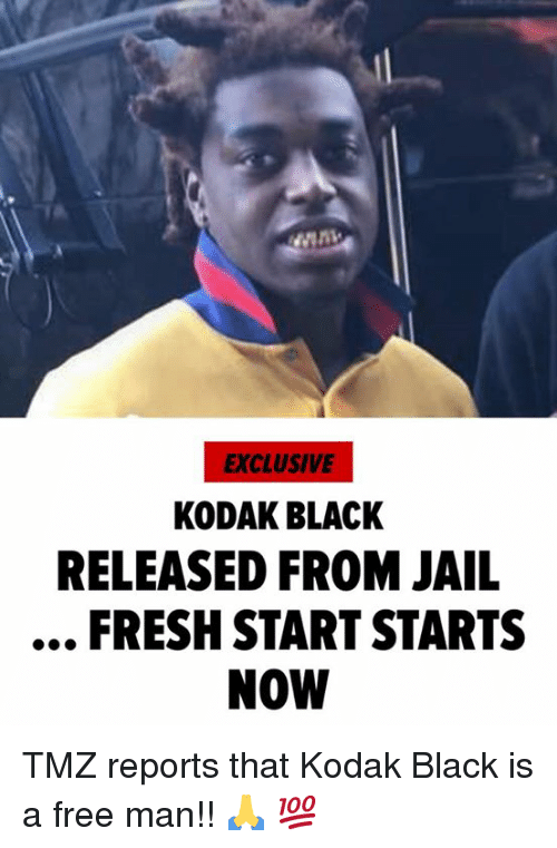 Fresh, Jail, and Black: EXCLUSIVE  KODAK BLACK  RELEASED FROM JAIL  FRESH START STARTS  NOW ‪TMZ reports that Kodak Black is a free man!! 🙏 💯 ‬