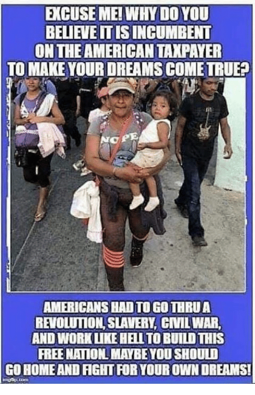 Memes, True, and Work: EXCUSE ME! WHY DO YOU  BELIEVEITISINCUMBENT  ON THE AMERICAN TAXPAYER  TO MAKE YOUR DREAMS COME TRUE?  O PE  AMERICANS HAD TO GO THRUA  REVOLUTION, SLAVERY, CNILWAR  AND WORK LUKE HELLTO BUILD THIS  FREE NAIION MAYBE YOU SHOULD  GO HOMEAND FIGHT FOR YOUR OWN DREAMS!