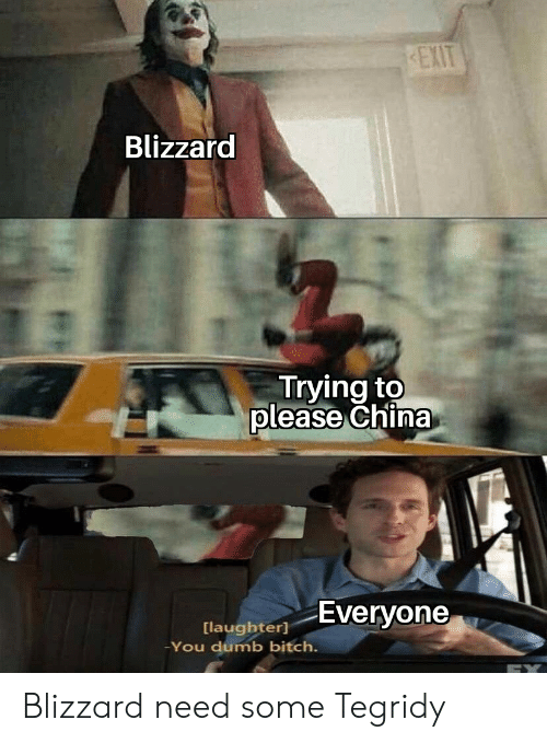 You Dumb Bitch: EXIT  Blizzard  Trying to  please China  Everyone  [laughter]  -You dumb bitch. Blizzard need some Tegridy