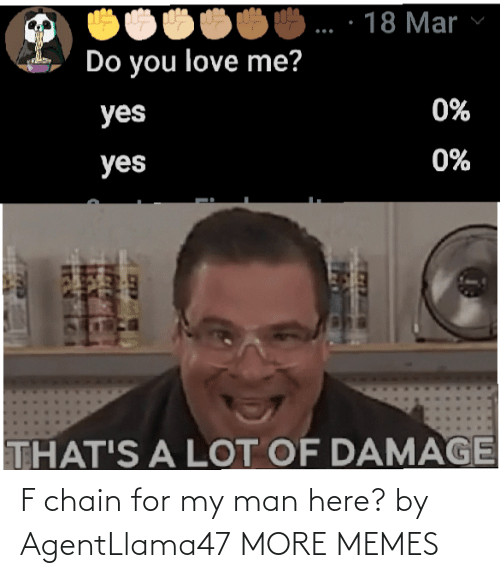 man: F chain for my man here? by AgentLlama47 MORE MEMES
