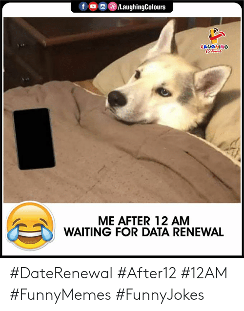 Colours: f /LaughingColours  LAUGHING  Colours  ME AFTER 12 AM  WAITING FOR DATA RENEWAL #DateRenewal #After12 #12AM #FunnyMemes #FunnyJokes