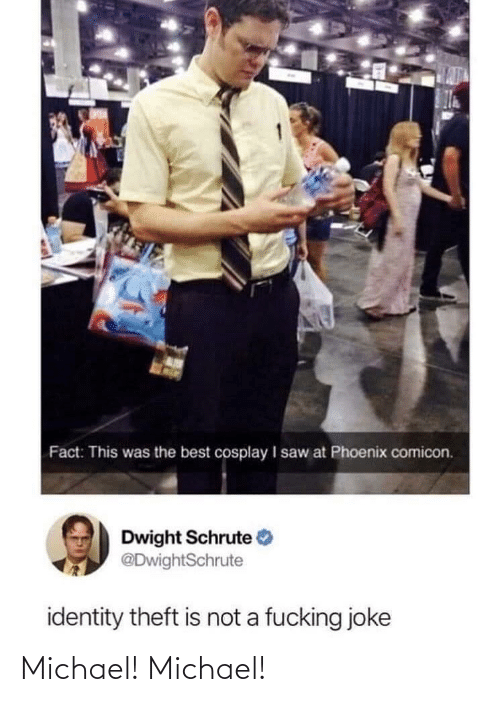 Michael: Fact: This was the best cosplay I saw at Phoenix comicon.  Dwight Schrute  @DwightSchrute  identity theft is not a fucking joke Michael! Michael!