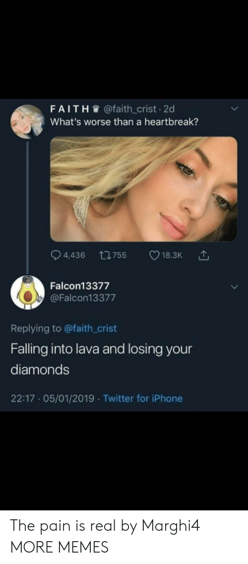 falling: FAITH @faith_crist 2d  What's worse than a heartbreak?  ti755  4,436  18.3K  Falcon13377  @Falcon13377  Replying to @faith_crist  Falling into lava and losing your  diamonds  22:17 05/01/2019 Twitter for iPhone The pain is real by Marghi4 MORE MEMES