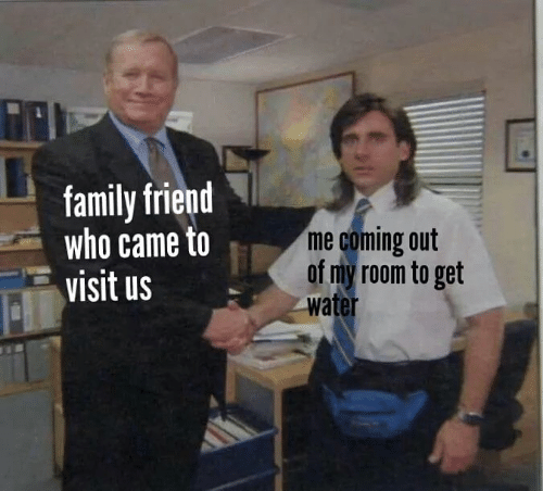 Family, Memes, and Water: family friend  who came to  visit us  me coming out  of my room to get  water