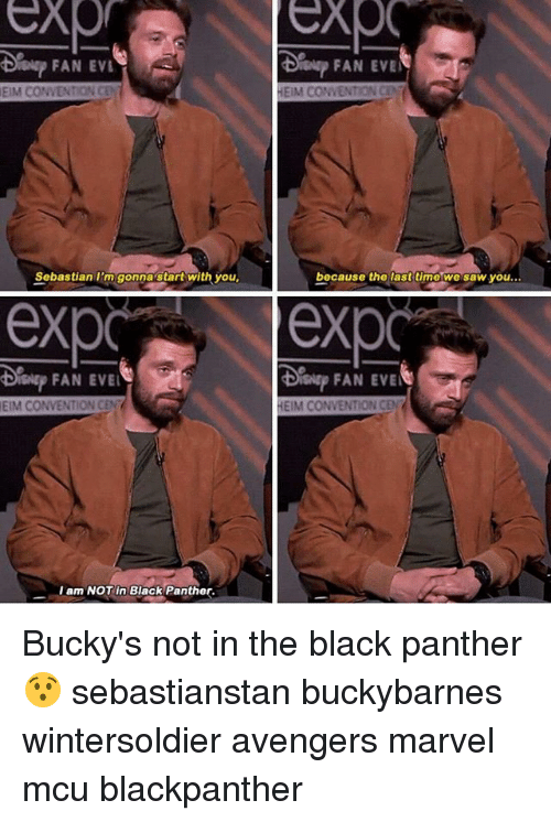 eim: FAN EVL  Sislsp FAN EVE  EIM CONVENTION CEN  HEIM CONVENTION CE  Sobastian I'm gonnastart with you  bocause the lasttimo we saw you...  exp exp  FAN EVE  EIM CONVENTION CEN  HEIM CONVENTION CEN  I am NOT in Black Panther. Bucky's not in the black panther 😯 sebastianstan buckybarnes wintersoldier avengers marvel mcu blackpanther