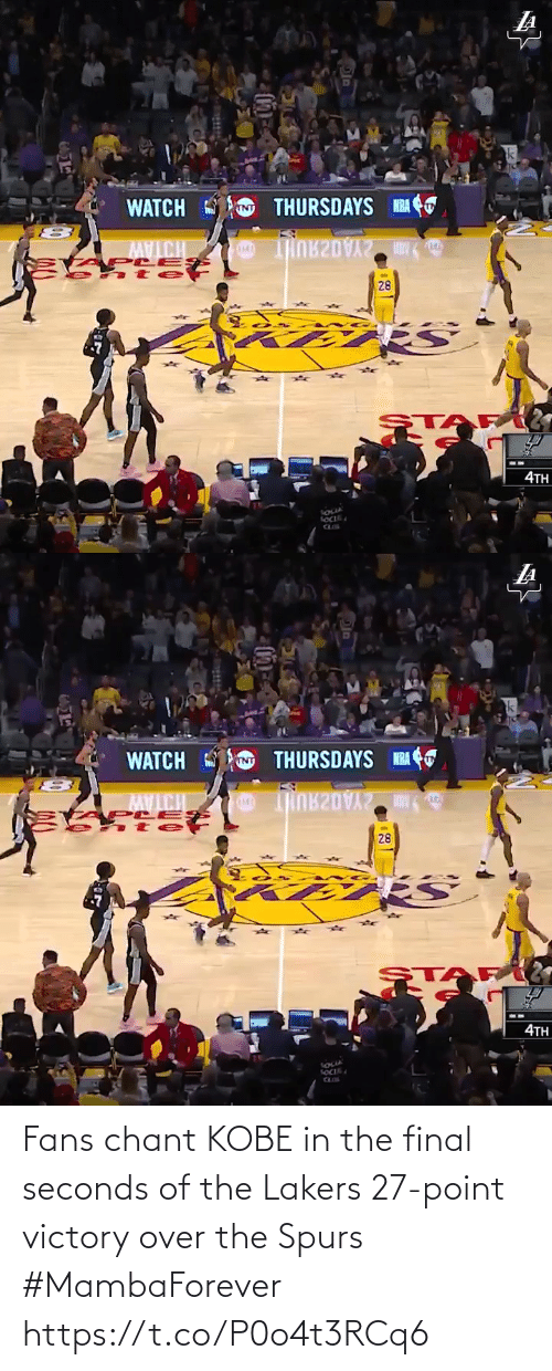 Kobe: Fans chant KOBE in the final seconds of the Lakers 27-point victory over the Spurs #MambaForever  https://t.co/P0o4t3RCq6