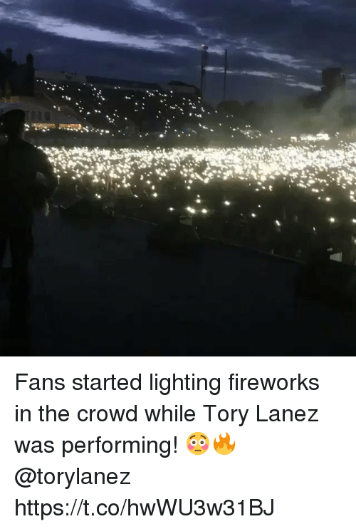 Tory Lanez, Fireworks, and Lighting: Fans started lighting fireworks in the crowd while Tory Lanez was performing! 😳🔥 @torylanez https://t.co/hwWU3w31BJ
