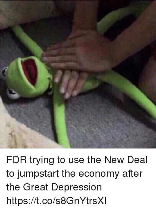 fdr: FDR trying to use the New Deal to jumpstart the economy after the Great Depression https://t.co/s8GnYtrsXI