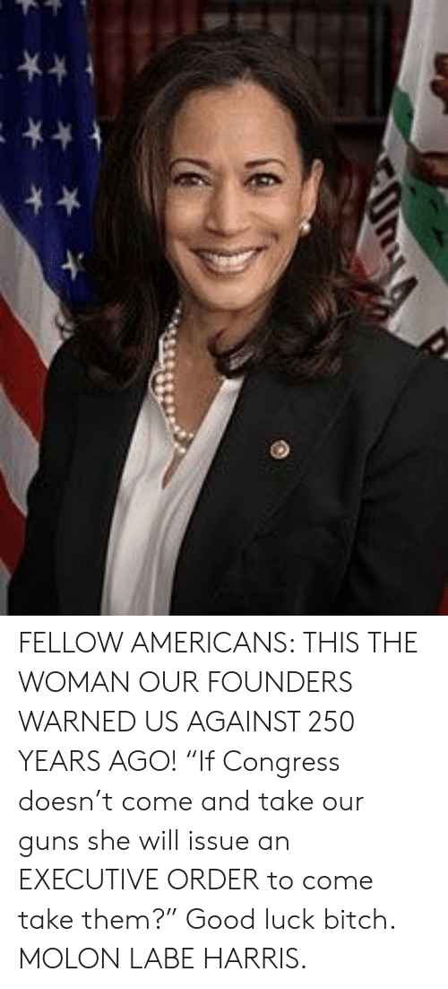 """Bitch, Guns, and Good: FELLOW AMERICANS: THIS THE WOMAN OUR FOUNDERS WARNED US AGAINST 250 YEARS AGO! """"If Congress doesn't come and take our guns she will issue an EXECUTIVE ORDER to come take them?"""" Good luck bitch. MOLON LABE HARRIS."""