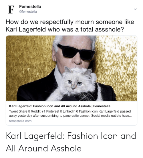 Fashion, Reddit, and Social Media: Femestella  @femestella  How do we respectfully mourn someone like  Karl Lagerfeld who was a total assshole?  Karl Lagerfeld: Fashion Icon and All Around Asshole Femestella  Tweet Share 0 Reddit +1 Pinterest 0 Linkedln 0 Fashion icon Karl Lagerfeld passed  away yesterday after succumbing to pancreatic cancer. Social media outlets have...  femestella.com Karl Lagerfeld: Fashion Icon and All Around Asshole