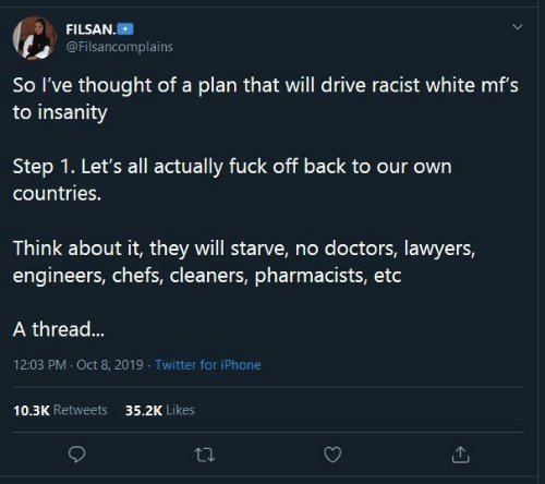 Drive: FILSAN.  @Filsancomplains  So l've thought of a plan that will drive racist white mf's  to insanity  our  Step 1. Let's all actually fuck off back to our own  countries.  Think about it, they will starve, no doctors, lawyers,  engineers, chefs, cleaners, pharmacists, etc  A thread...  12:03 PM · Oct 8, 2019 - Twitter for iPhone  10.3K Retweets  35.2K Likes