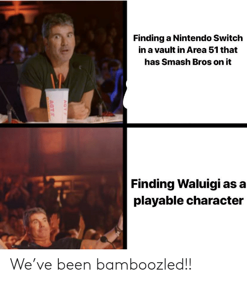 Nintendo, Smashing, and Smash Bros: Finding a Nintendo Switch  in a vault in Area 51 that  has Smash Bros on it  Finding Waluigi as a  playable character  AGT  AGT We've been bamboozled!!
