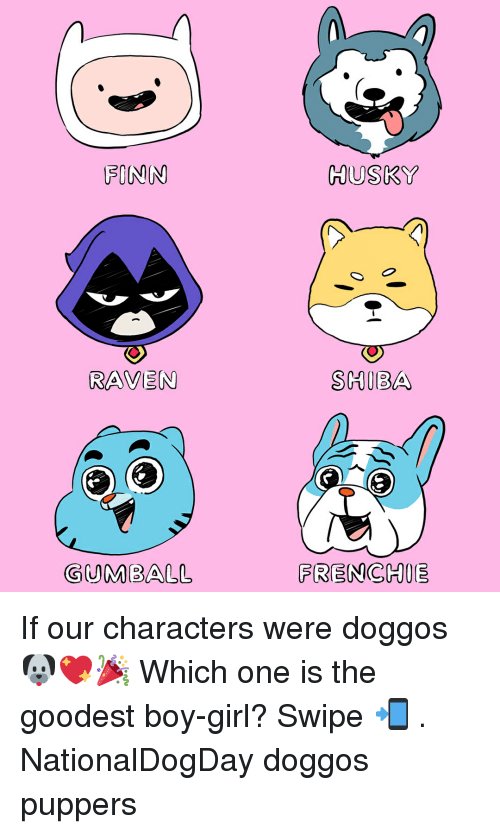 Finn: FINN  HUSKY  RAVEN  SHIBA  GUMBALL  FRENCHIE If our characters were doggos 🐶💖🎉 Which one is the goodest boy-girl? Swipe 📲 . NationalDogDay doggos puppers