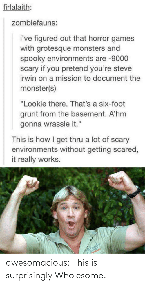 "Monster, Steve Irwin, and Tumblr: firlalaith:  zombiefauns:  i've figured out that horror games  with grotesque monsters and  spooky environments are -9000  scary if you pretend you're steve  irwin on a mission to document the  monster(s)  ""Lookie there. That's a six-foot  grunt from the basement. A'hm  gonna wrassle it.""  This is how I get thru a lot of scary  environments without getting scared,  it really works.  rocodilcl  unter awesomacious:  This is surprisingly Wholesome."
