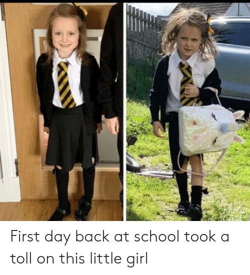 School, Girl, and Back: First day back at school took a toll on this little girl