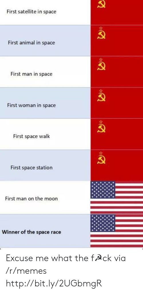Memes, Animal, and Http: First satellite in space  First animal in space  First man in space  First woman in space  First space walk  First space station  First man on the moon  Winner of the space race Excuse me what the f☭ck via /r/memes http://bit.ly/2UGbmgR