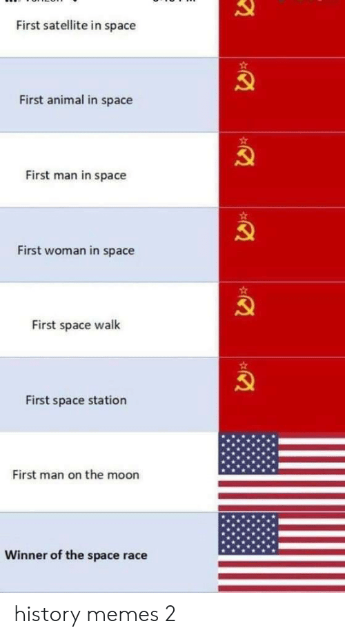 Memes, Animal, and History: First satellite in space  First animal in space  First man in space  First woman in space  First space walk  First space station  First man on the moon  Winner of the space race history memes 2