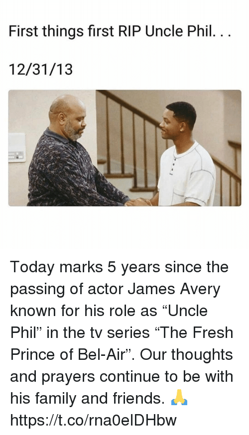 """Family, Fresh, and Fresh Prince of Bel-Air: First things first RIP Uncle Phil  12/31/13 Today marks 5 years since the passing of actor James Avery known for his role as """"Uncle Phil"""" in the tv series """"The Fresh Prince of Bel-Air"""". Our thoughts and prayers continue to be with his family and friends. 🙏 https://t.co/rna0elDHbw"""
