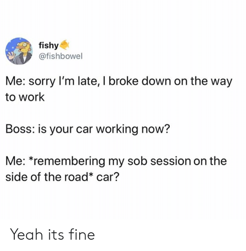 Dank, Sorry, and Yeah: fishy  @fishbowel  Me: sorry I'm late, I broke down on the way  to work  Boss: is your car working now?  Me: *remembering my sob session on the  side of the road* car? Yeah its fine