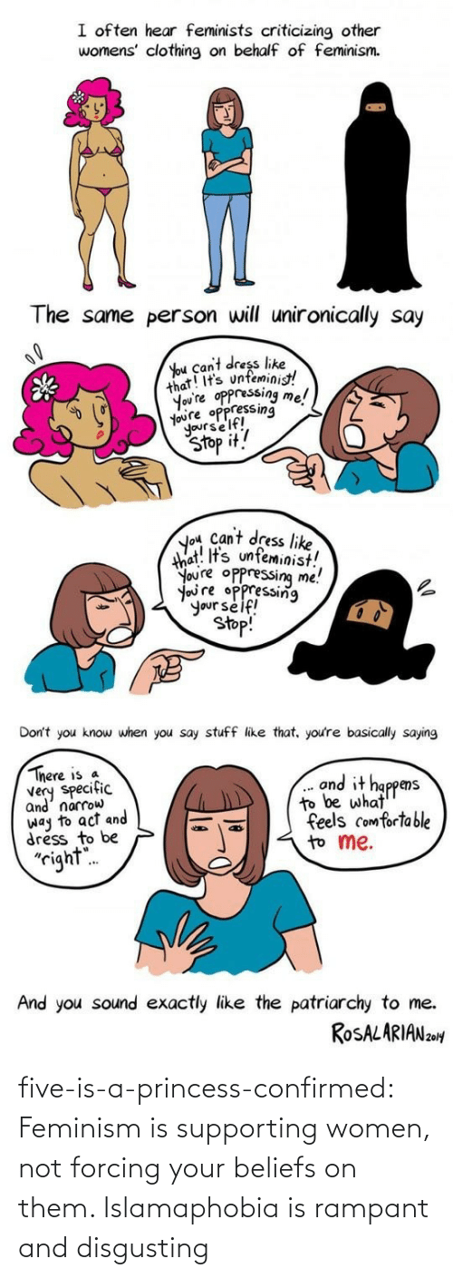 Feminism: five-is-a-princess-confirmed:  Feminism is supporting women, not forcing your beliefs on them.  Islamaphobia is rampant and disgusting