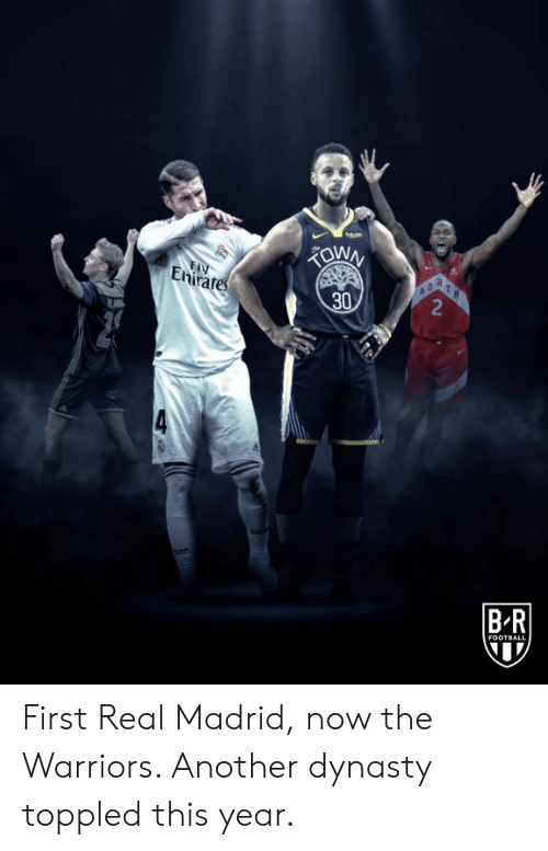 Football, Real Madrid, and Warriors: FIY  Enirates  R  2  30  BR  FOOTBALL First Real Madrid, now the Warriors.   Another dynasty toppled this year.