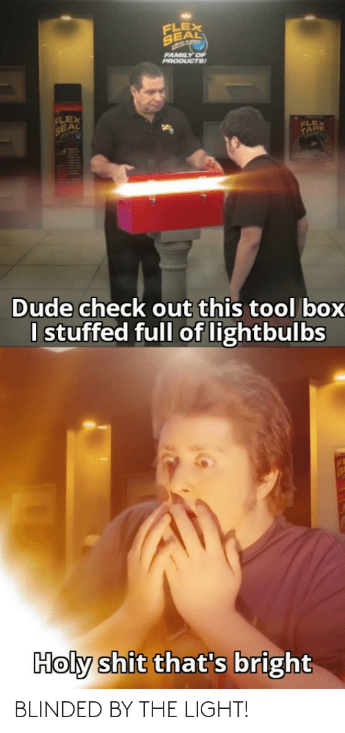 bright: FLEX  SEAL  FAMILY OF  PRODUCTS!  FLEX  SEAL  FLEX  TAPE  Dude check out this tool box  I stuffed full of lightbulbs  Holy shit that's bright BLINDED BY THE LIGHT!