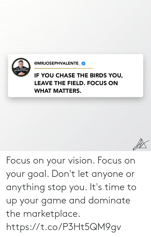 Goal: Focus on your vision. Focus on your goal. Don't let anyone or anything stop you. It's time to up your game and dominate the marketplace. https://t.co/P3Ht5QM9gv
