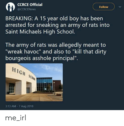 """Army: Follow  CCRCE Official  @CCRCENEWS  BREAKING: A 15 year old boy has been  arrested for sneaking an army of rats into  Saint Michaels High School.  The army of rats was allegedly meant to  """"wreak havoc"""" and also to """"kill that dirty  bourgeois asshole principal""""  HIGH SCHOOL  3:13 AM 7 Aug 2018 me_irl"""