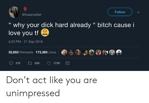 """I Love You: Follow  @hoesmatter  why your dick hard already """" bitch cause i  love you tf  4:20 PM -21 Sep 2018  32,653 Retweets 173,365 Likes  Li33K  276  173K Don't act like you are unimpressed"""