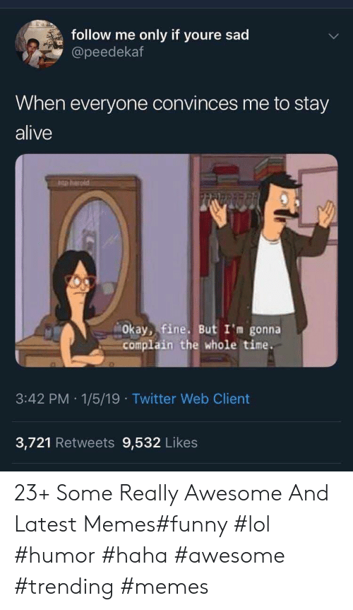 Memes Funny: follow me  only if youre sad  @peedekaf  When everyone convinces me to stay  alive  pharld  Okay, fine. But I'm gonna  complain the whole time.  3:42 PM 1/5/19 Twitter Web Client  3,721 Retweets 9,532 Likes 23+ Some Really Awesome And Latest Memes#funny #lol #humor #haha #awesome #trending #memes