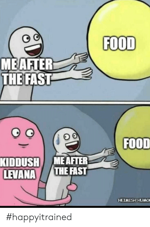 Kiddush: FOOD  MEAFTER  THE FAST  FOOD  KIDDUSH MEAFTER  THE FAST  LEVANA  HEIMISH HUMO #happyitrained