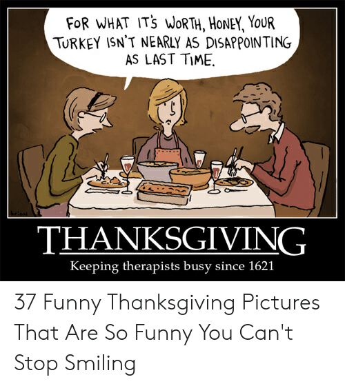 Funny, Thanksgiving, and Pictures: FOR WHAT ITS WORTH, HONEY, YouR  TURKEY ISN'T NEARLY AS DISAPPOINTING  AS LAST TIME.  THANKSGIVING  Keeping therapists busy since 1621 37 Funny Thanksgiving Pictures That Are So Funny You Can't Stop Smiling