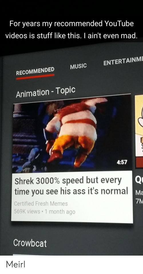 Ass, Fresh, and Memes: For years my recommended YouTube  videos is stuff like this. I ain't even mad.  ENTERTAINME  MUSIC  RECOMMENDED  Animation - Topic  4:57  Shrek 3000% speed but every  time you see his ass it's normal  Ma  7M  Certified Fresh Memes  569K views 1 month ago  Crowbcat Meirl