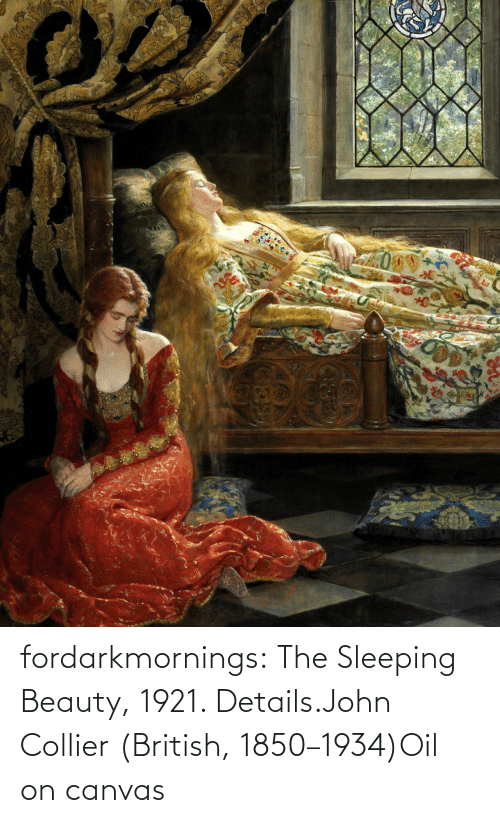 beauty: fordarkmornings:  The Sleeping Beauty, 1921. Details.John Collier (British, 1850–1934)Oil on canvas