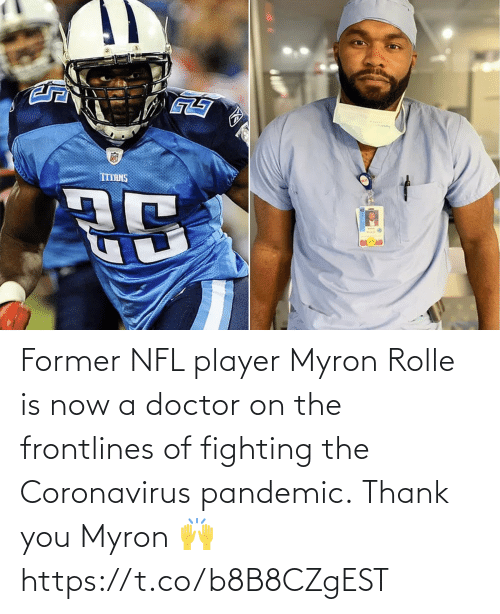 Coronavirus: Former NFL player Myron Rolle is now a doctor on the frontlines of fighting the Coronavirus pandemic.  Thank you Myron 🙌 https://t.co/b8B8CZgEST