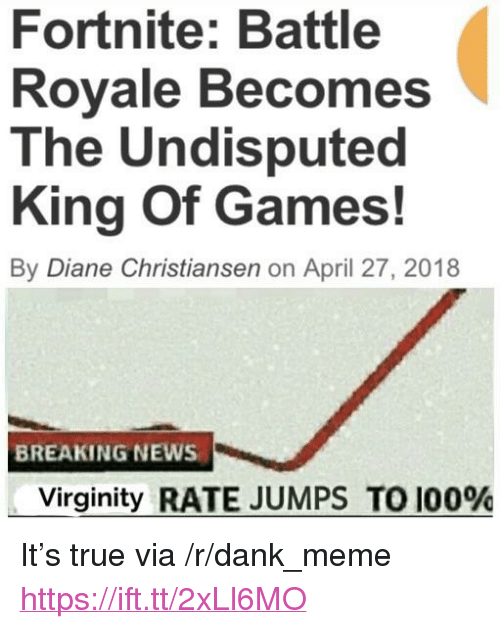 """Anaconda, Dank, and Meme: Fortnite: Battle  Rovale Becomes  The Undisputed  King Of Games!  By Diane Christiansen on April 27, 2018  BREAKING NEWS  Virginity RATE JUMPS TO 100% <p>It's true via /r/dank_meme <a href=""""https://ift.tt/2xLl6MO"""">https://ift.tt/2xLl6MO</a></p>"""