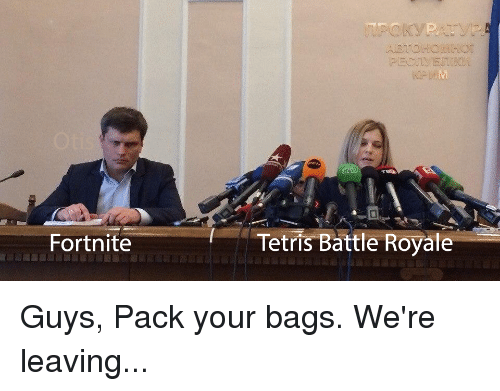 Tetris, Bags, and Guys: Fortnite  Tetris Battle Royate