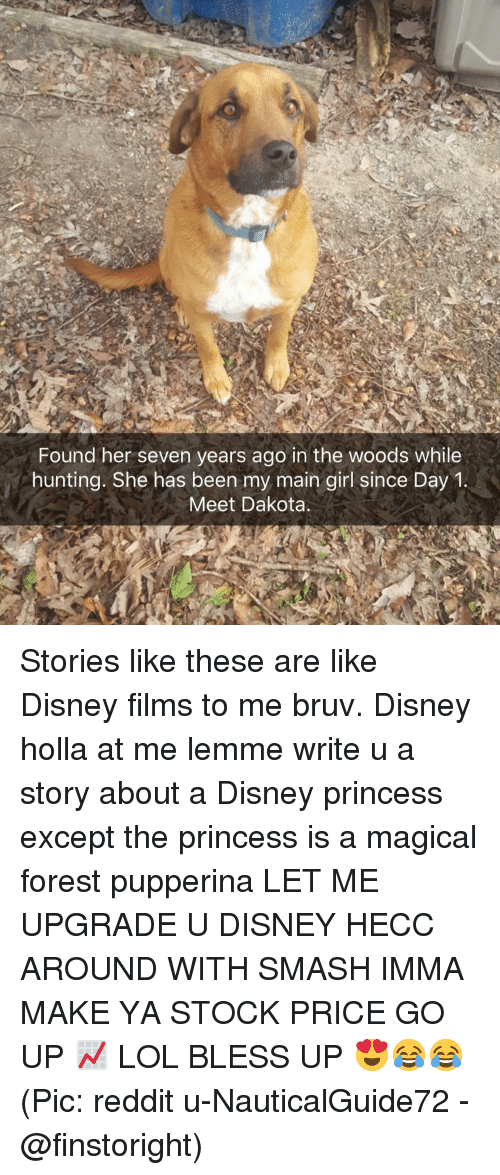 Bless Up, Disney, and Lol: Found her seven years ago in the woods while  hunting. She has been my main girl since Day1  Meet Dakota Stories like these are like Disney films to me bruv. Disney holla at me lemme write u a story about a Disney princess except the princess is a magical forest pupperina LET ME UPGRADE U DISNEY HECC AROUND WITH SMASH IMMA MAKE YA STOCK PRICE GO UP 📈 LOL BLESS UP 😍😂😂 (Pic: reddit u-NauticalGuide72 - @finstoright)